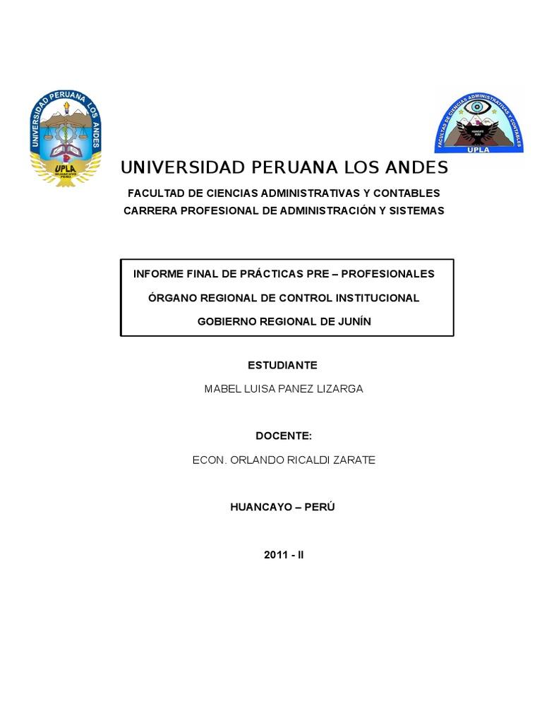 Informe Practicas Pre Profesionales III - CONTABILIDAD