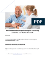 Florida Speech Language Pathologists Continuing Education and License Renewals
