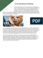 Modes Video HDTV Et des Resolutions d'Affichage