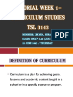 Tutorial Week 1- Curriculum Studies