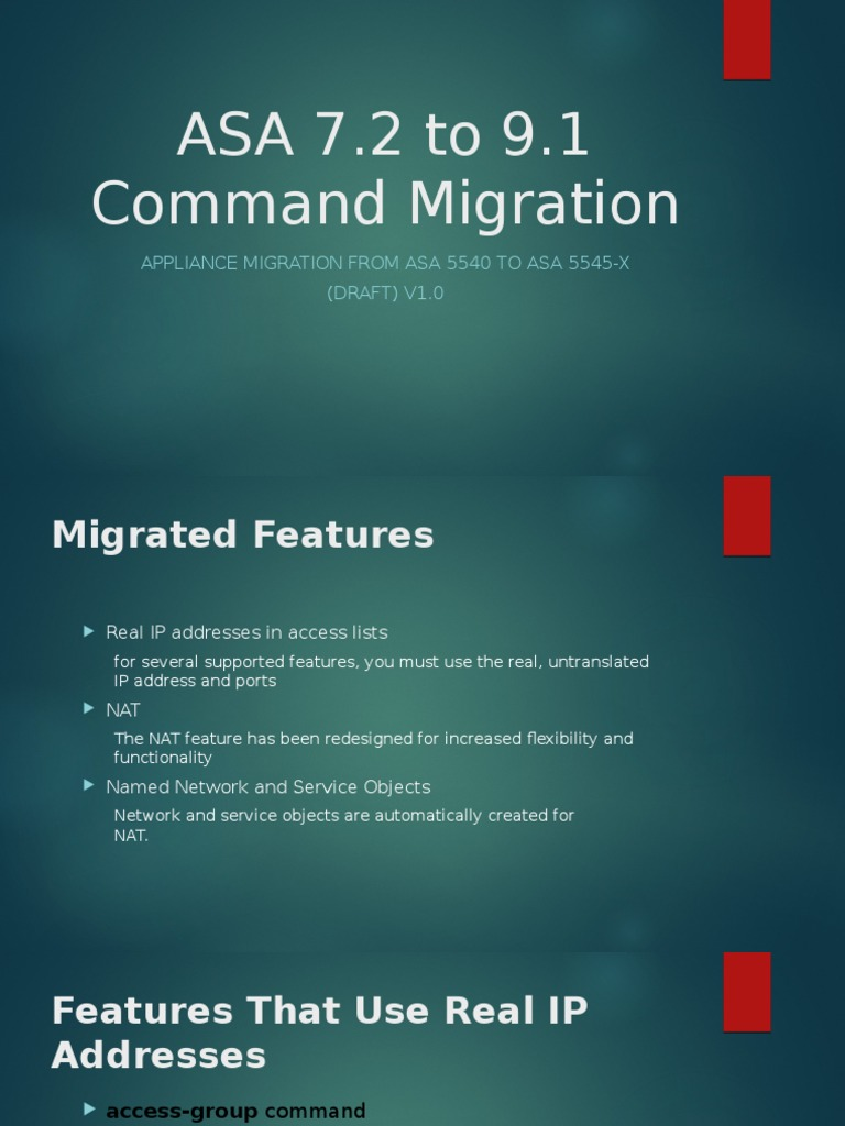 ASA 7 to 9 Command Migration | Ip Address | Network Architecture