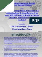 """Efecto de la temperatura de recocido en el comportamiento de termofluencia de un acero AISI 1045 sobre el tiempo de ruptura sometido a temperatura y tensión constante"""""""