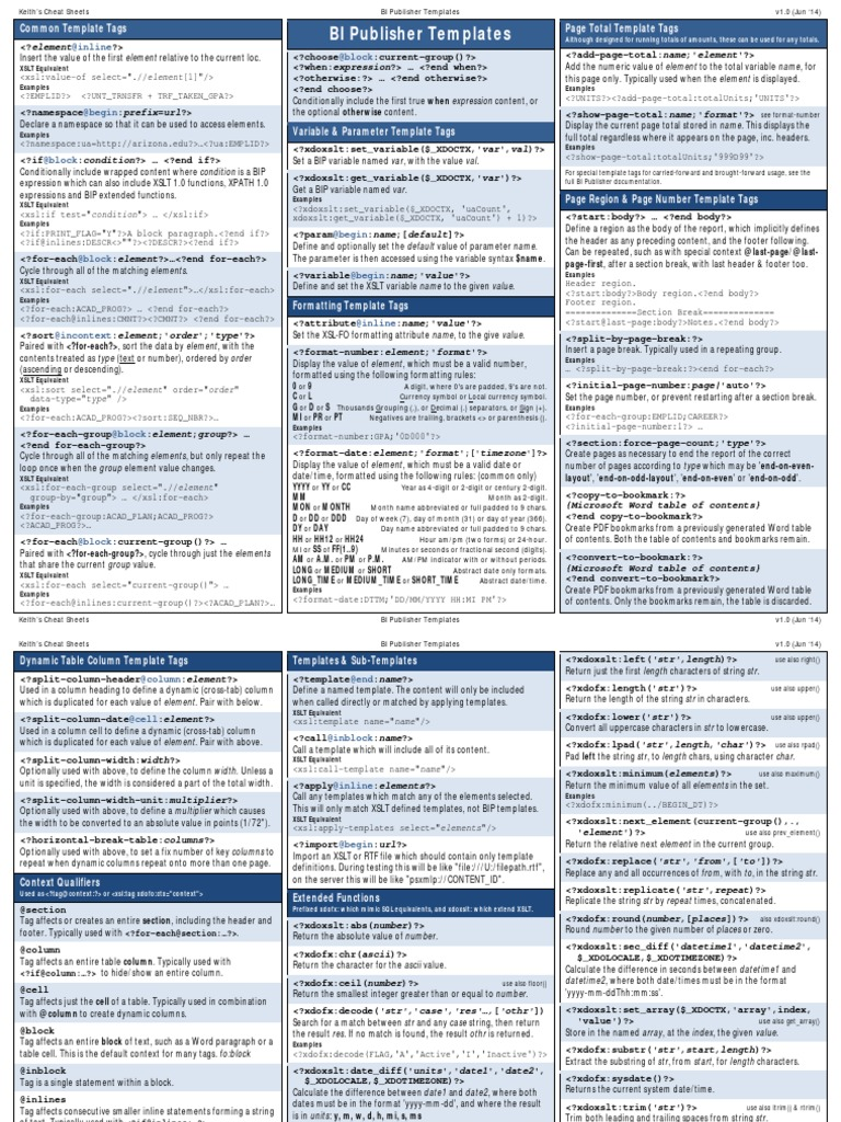 Cheatsheet BI Publisher | Xslt | String (Computer Science)