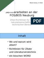 Zitierrichtlinien für Seminararbeiten Im Naturwissenschaftlich-technischen Bereich