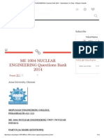 ME 1004 NUCLEAR ENGINEERING Questions Bank 2014 ~ Vidyarthiplus (V+) Blog - A Blog for Students