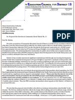 CEC 13 Letter on B15 School
