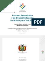 Proceso Autonómico y de Descentralización en Bolivia para Vivir Bien