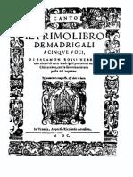 Rossi - Il Primo Libro de Madrigali