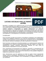 Pronunciamiento Luchas Sociales por la Tierra en América Latina