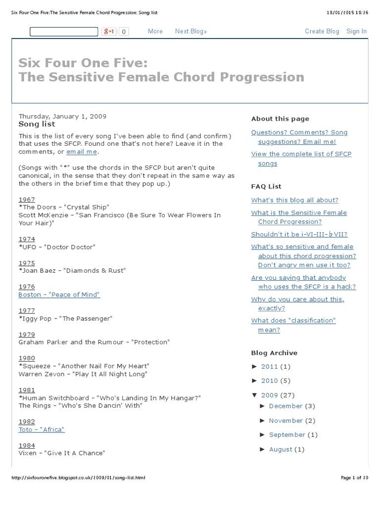 Six Four One Fivethe Sensitive Female Chord Progression Song List
