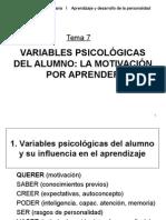 Variables Psicologicas de La Motivacion Escolar