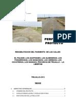 Elaboración Del Perfil de la carretera de Los cocoteros LE golf