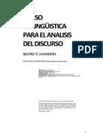 Beatriz Lavandera- Curso-De-linguistica Para El Análisis Del Discurso
