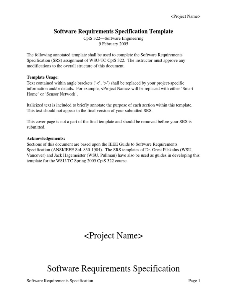 Software Requirements Specification Template Specification - Software requirements specification template