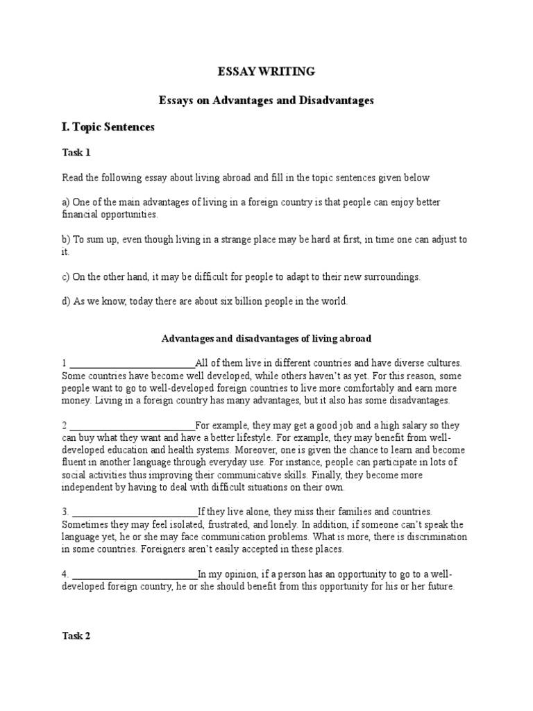 living abroad advantages and disadvantages essay