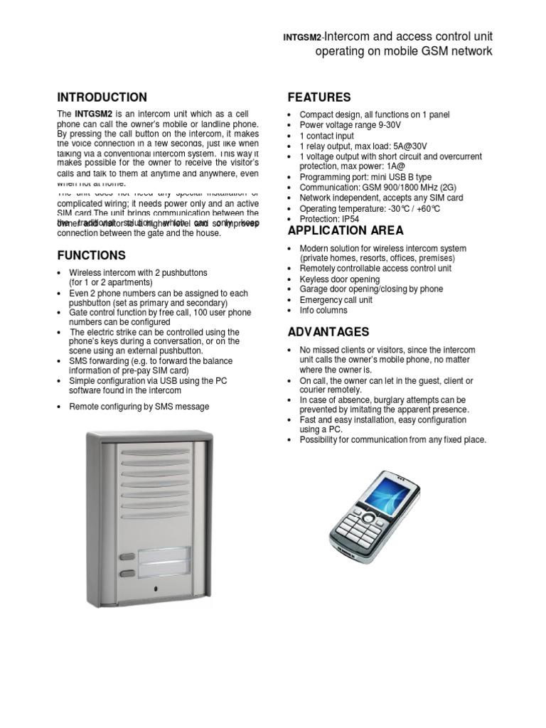 Manualintgsm2 Subscriber Identity Module Short Message Service Wireless Intercom Circuit Diagram