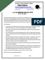 Spotsylvania Crime Solvers Report 6-24 THRU 6-30-2015