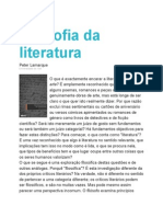 Resenha de Filosofia Da Literatura. de Peter Lamarque