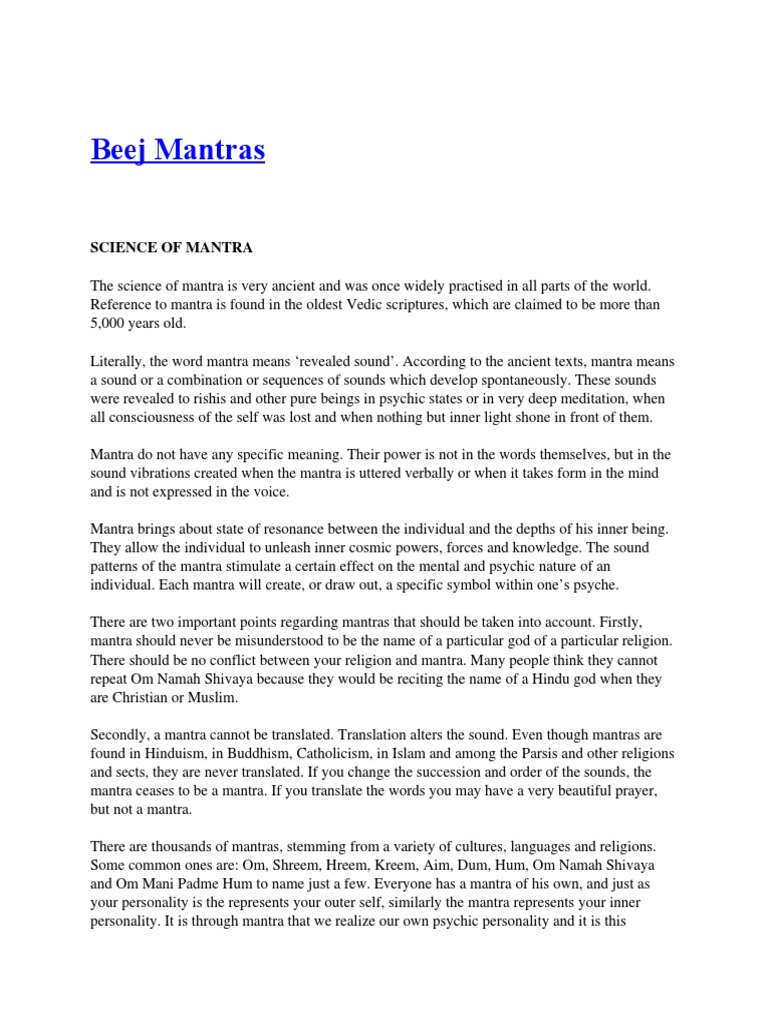 Chakras And Beeja Mantras Mantra Chakra