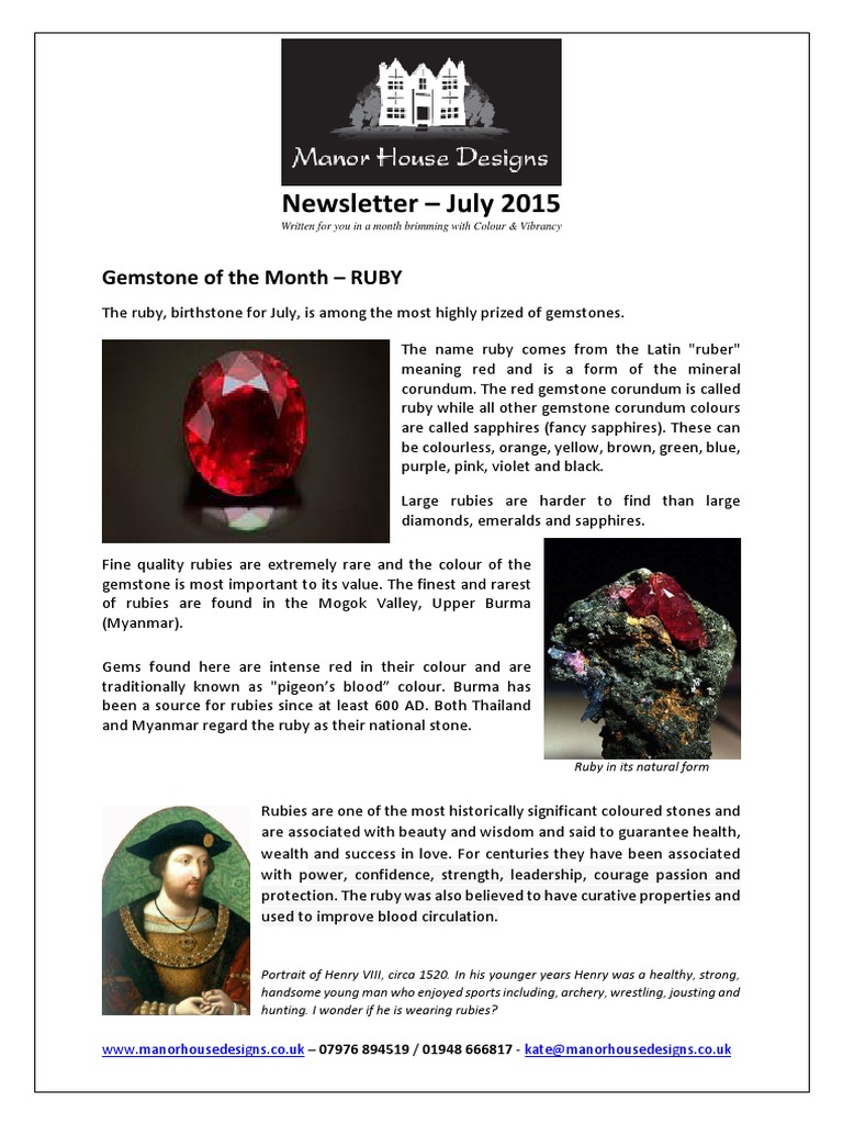 Newsletter July Rubies - draft 3 pdf | Gemstone | Jewellery Components
