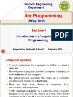 Lecture 1. Introduction to Computers and Programming