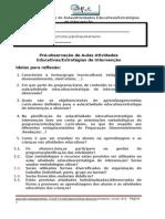 Ficha de observação de aulas (pré e pós) 30-01-2014