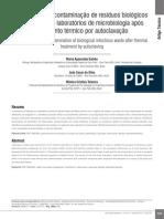 Eficácia Da Descontaminação de Resíduos Biológicos Infectantes de Laboratórios de Microbiologia Após Tratamento Térmico Por Autoclavação