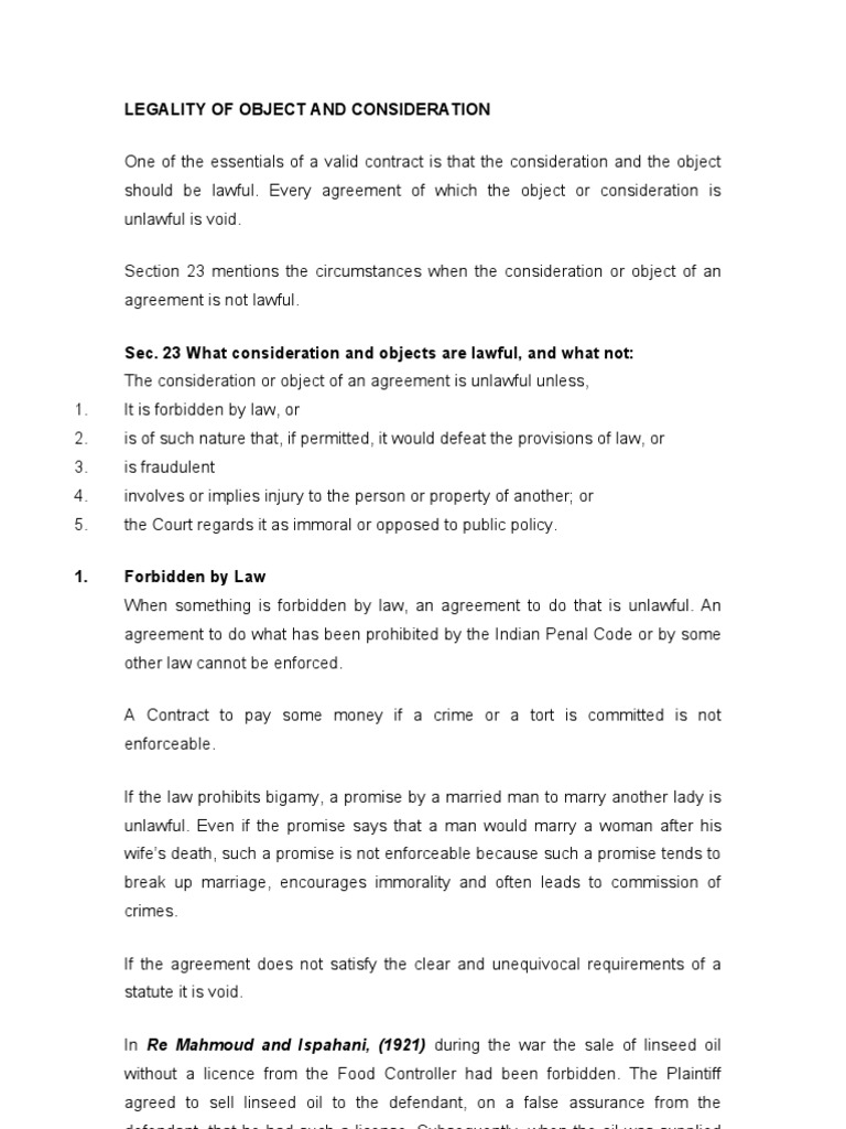 Legality Of Object And Consideration Consideration Public Policy