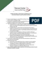 Denver Center for SFBT Certificate Checklist