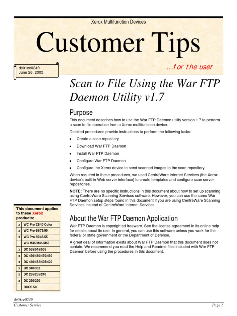 Scan To Ftp Xerox