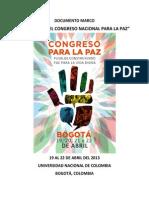 Documento Marco - Memorias Congreso Nacional Para La Paz