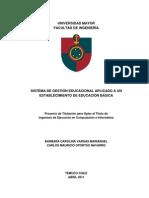 Sistema de Gestion Educacional Aplicado a Un Establecimiento de Educacion Basica
