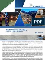Minsur - Peru Tin Mining Company - May 2015