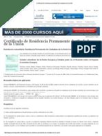 Certificado de Residencia Permanente de Ciudadano de La Unión