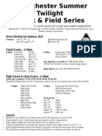 Westchester Summer Twilight Track and Field Series Flyers
