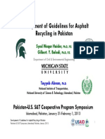 Development of Guidelines for Asphalt Recycling in Pakistan