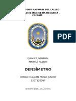 Informe de Qumica - Densimetro