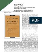 """1 Giugno 2015 - FARONOTIZIE.IT - Anno X, Numero 109 - Francesco Aronne recensisce """"A nuda voce. Canto per le tabacchine"""", di Elio Coriano"""
