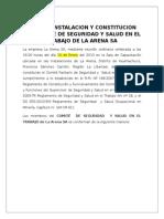 Acta de Instalacion y Constitucion Comite Sst
