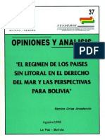 El Regimen de Los Paises Sin Litoral en El Erecho Del Mar y Las Perspectivas Para Bolivia