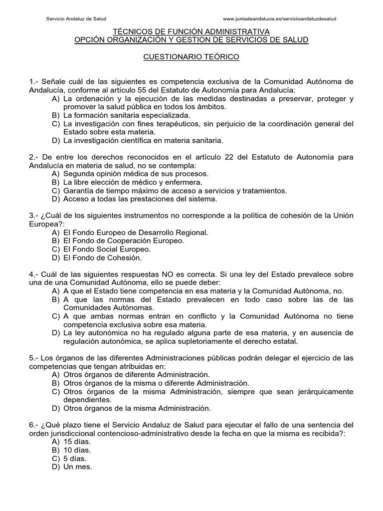 Examen2008 Sin Sol Técnico Organización Y Gestión Servicio