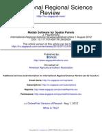 Elhorst(2012). Matlab Software for Spatial Panels