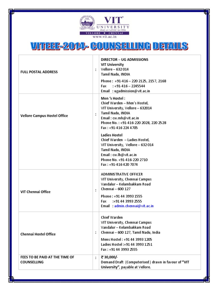 Vit counselling details bus banking aiddatafo Gallery