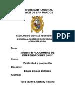 INFORME DE LA CUMBRE EMPRENDEDORES2015