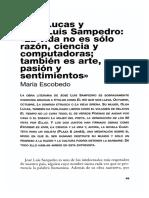 Olga Lucas y Jose Luis Sampedro La Vida No Es Solo Razon Ciencia y Computadoras Tambien Es Arte Pasion y Sentimientos
