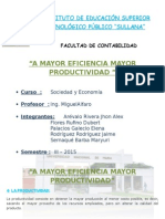 A Mayor Eficiencia Mayor Productividad