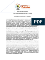 Proclama Foro Social Urbano Alternativo y Popular-2014