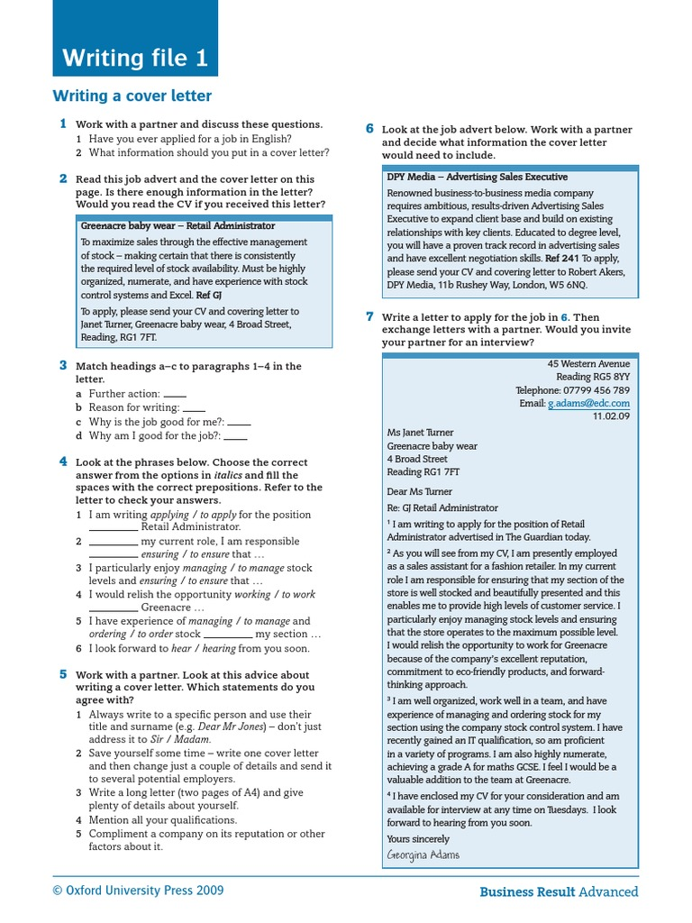 Writing a Cover Letter Student\'s Worksheet | Advertising ...