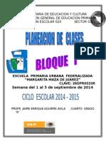Planeacion Cuarto Grado Semana 1 2014-2015
