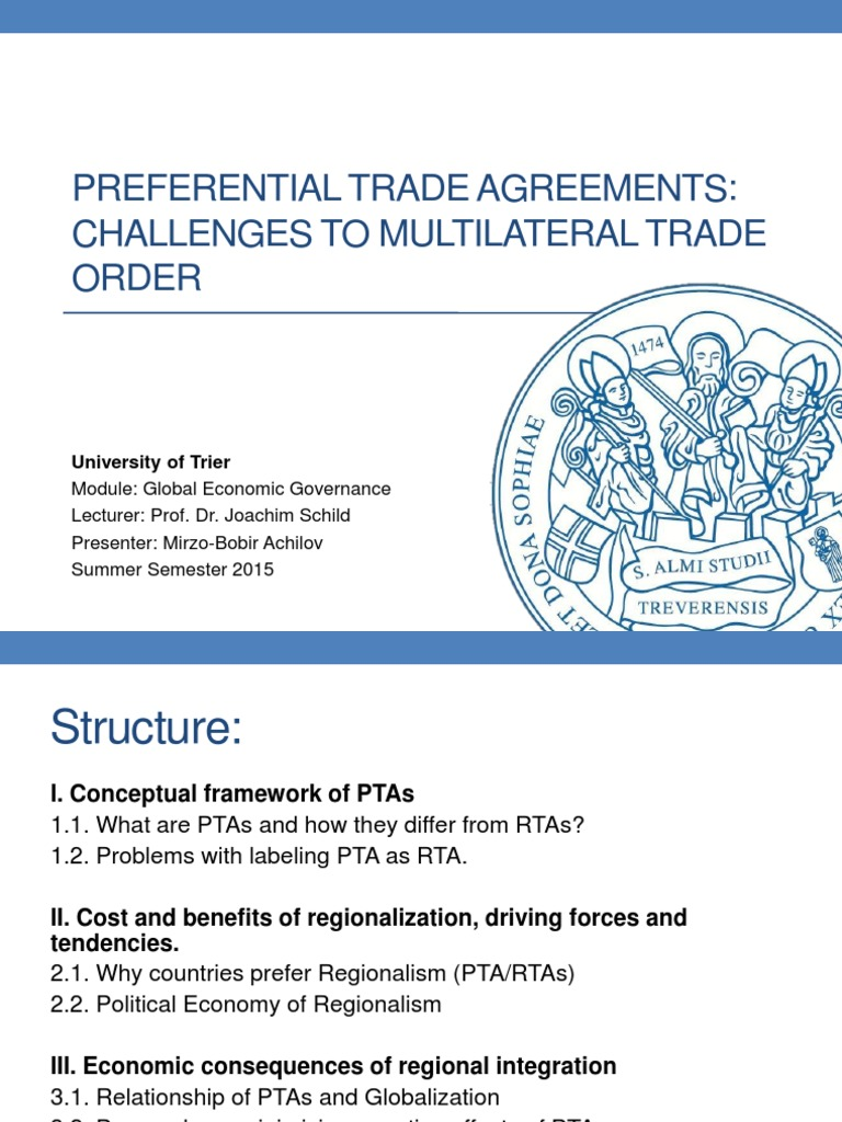 Pta4 1 Trade Agreements World Trade Organization